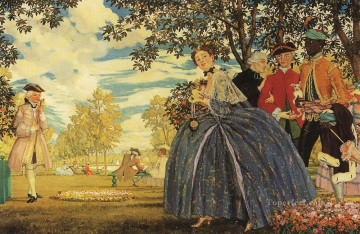 Konstantin Somov Painting - figures in the park Konstantin Somov