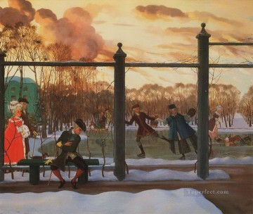 Konstantin Somov Painting - skating rink in winter 1915 Konstantin Somov
