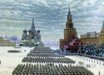 november Deco Art - military parade in red square 7th november 1941 1941 Konstantin Yuon