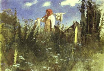 Ivan Art - Girl with Washed Linen on the Yoke Democratic Ivan Kramskoi