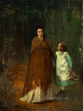 Artists Oil Painting - In the Park Portrait of the Artists Wife and Daughter Democratic Ivan Kramskoi