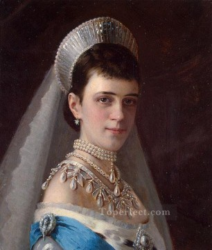 equestrian portrait of maria luisa of parma Painting - Portrait of Empress Maria Fyodorovna in a Head Dress Decorated with Pearls Democratic Ivan Kramskoi