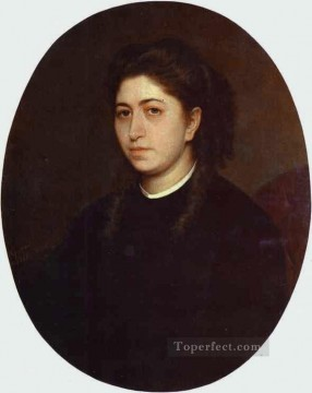 black Art - Portrait of a Young Woman Dressed in Black Velvet Democratic Ivan Kramskoi