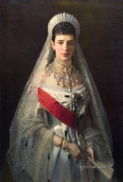 equestrian portrait of maria luisa of parma Painting - Portrait of the Empress Maria Feodorovna Democratic Ivan Kramskoi