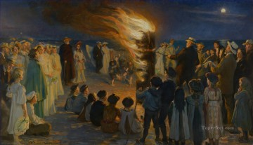 Peder Severin Kroyer Painting - Midsummer Eve bonfire on Skagens beach Peder Severin Kroyer