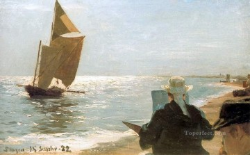 Peder Severin Kroyer Painting - Pintores en la playa 1892 Peder Severin Kroyer
