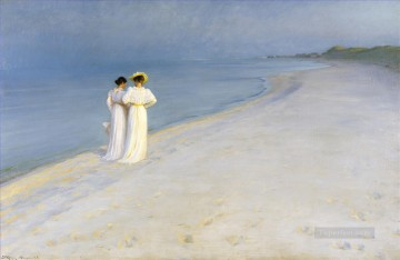 Summer Art - Summer Evening on Skagen Southern Beach with Anna Ancher and Marie Kroyer Peder Severin Kroyer