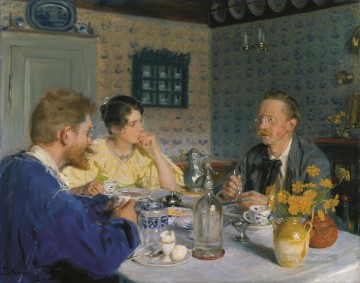 Peder Severin Kroyer Painting - A luncheon The artist his wife and the writer Otto Benzon Peder Severin Kroyer