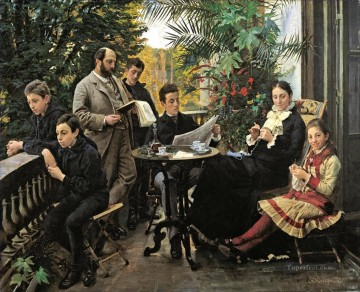 left Canvas - The Hirschsprung family portrait From the left Ivar Aage Heinrich Oscar Robert Pauline and Ell Peder Severin Kroyer