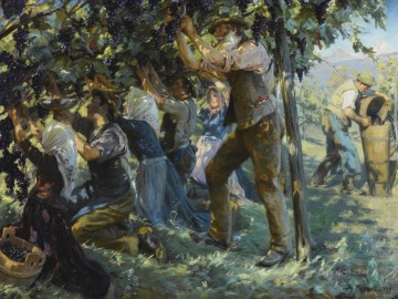 Wine Painting - WINE HARVEST IN THE TYROL Peder Severin Kroyer
