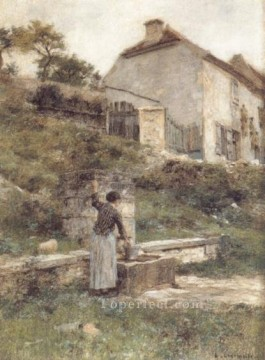 Leon Augustin Lhermitte Painting - A Woman Filing Her Bucket at a Well rural scenes peasant Leon Augustin Lhermitte