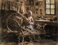 The Spinning Wheel rural scenes peasant Leon Augustin Lhermitte