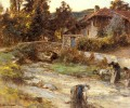 Washerwomen At A Stream With Buildings Beyond rural scenes peasant Leon Augustin Lhermitte