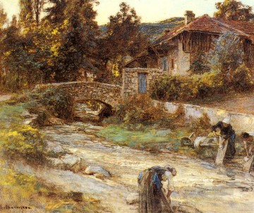 stream Painting - Washerwomen At A Stream With Buildings Beyond rural scenes peasant Leon Augustin Lhermitte