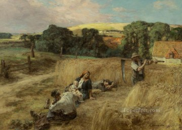 Leon Augustin Lhermitte Painting - A Rest from the Harvest rural scenes peasant Leon Augustin Lhermitte