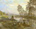 Figures by a Country Stream rural scenes peasant Leon Augustin Lhermitte