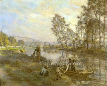 stream Painting - Figures by a Country Stream rural scenes peasant Leon Augustin Lhermitte