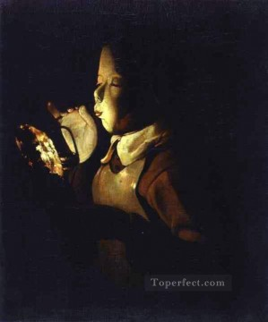 Blowing Painting - Boy Blowing at Lamp ABC candlelight Georges de La Tour