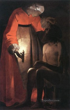 Georges de La Tour Painting - Job Mocked by his Wife candlelight Georges de La Tour