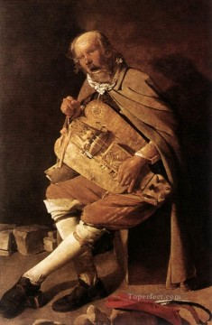 Player Painting - The Hurdy gurdy Player candlelight Georges de La Tour