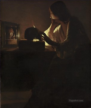 Georges de La Tour Painting - The Repentant Magdalen candlelight Georges de La Tour