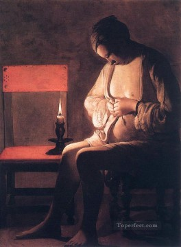 Georges de La Tour Painting - Woman Catching Fleas candlelight Georges de La Tour
