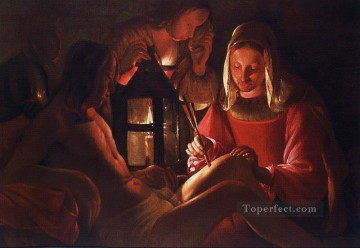 Georges de La Tour Painting - St Irene Removing Arrows from St Sebastians Leg candlelight Georges de La Tour