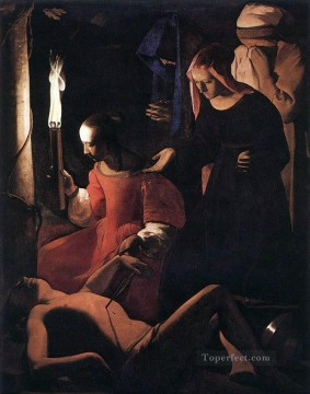 Georges de La Tour Painting - St Sebastien Attended by St Irene candlelight Georges de La Tour