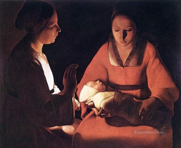 new orleans Painting - The New born candlelight Georges de La Tour