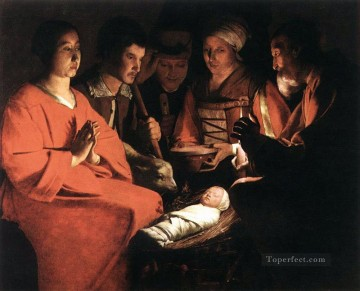 Adoration Art - Adoration of the Shepherds candlelight Georges de La Tour