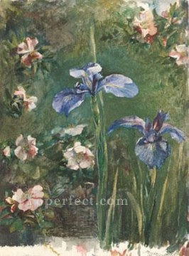 Rose Art - Wild Roses And Irises flower John LaFarge