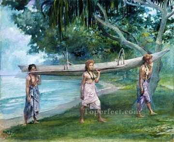 Girls Canvas - Girls Carrying A Canoe Vaiala In Samoa John LaFarge