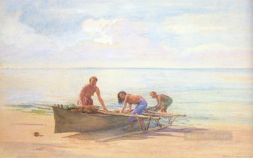 drawing Oil Painting - Women Drawing up a Canoe John LaFarge