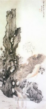 Lan Ying Painting - flower and rock old China ink