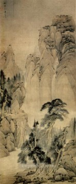 china - pines and the waterfall old China ink