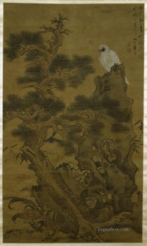 china - pine tree white hawk and rock 1664 old China ink