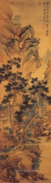 china - cottages in mountains landscape old China ink