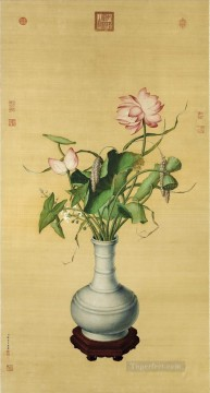 Lang Shining Painting - Lang shining lotus of Auspicious old China ink Giuseppe Castiglione