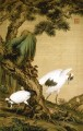 Lang shining two cranes under pine tree old China ink Giuseppe Castiglione