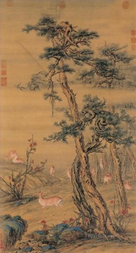 Lang Shining Painting - Lang shining deer in autumn old China ink Giuseppe Castiglione