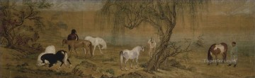 lion - Lang shining horses in countryside old China ink Giuseppe Castiglione