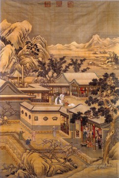 china - Lang shining happy new year of qianlong old China ink Giuseppe Castiglione