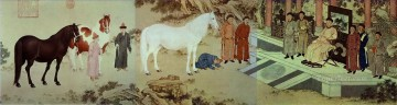 lion - Lang shining tribute of horses old China ink Giuseppe Castiglione