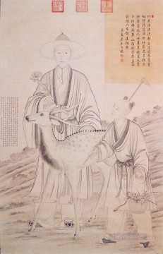 Qianlong Emperor Collecting Lingzhi Lang shining old China ink Giuseppe Castiglione Oil Paintings