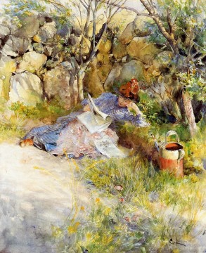 Carl Art Painting - A Lady Reading a Newspaper Carl Larsson