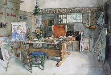 1895 Oil Painting - the studio 1895 Carl Larsson