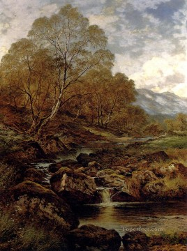 wales Art Painting - The Stream From The Hills Of Wales Benjamin Williams Leader