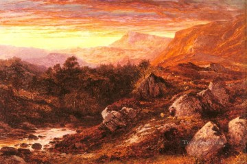 wales Art Painting - The Valley Of The Lleder North Wales Benjamin Williams Leader
