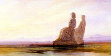 plain Art - The Plain Of Thebes With Two Colossi Edward Lear