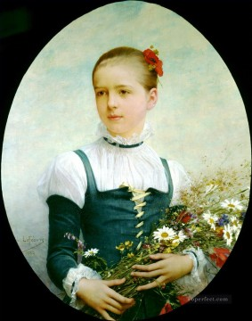 Jules Art Painting - Portrait of Edna Barger of Connecticut 1884 Jules Joseph Lefebvre